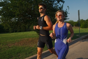 Triathletes jogging for the Bicycle Sport Shop